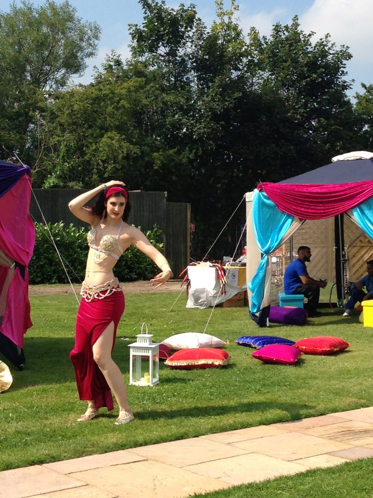 Rachael bellydances at a garden party in Wolverhampton