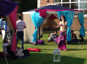 Bellydancer Rasha Nour performing at a garden party near Birmingham