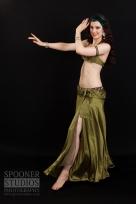 Bellydancer Rachael in an olive green costume