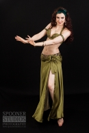 Oxford Bellydancer Rachael in an olive green costume