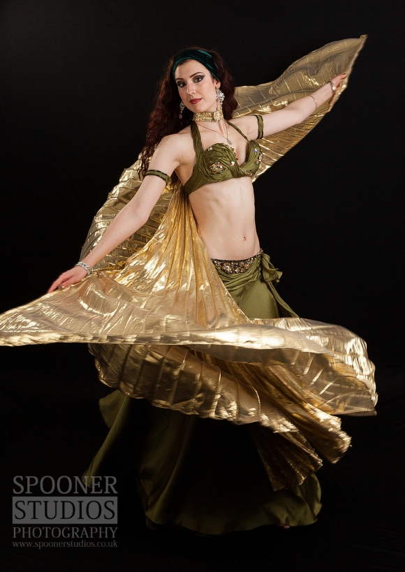 Oxford bellydancer Rasha Nour spinning with Isis wings