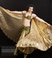 Oxford bellydancer Rachael with gold Isis wings