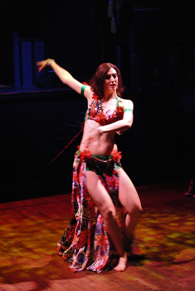 Rachael dancing at the 'Arab Quarterly' bellydance show in May 2017.