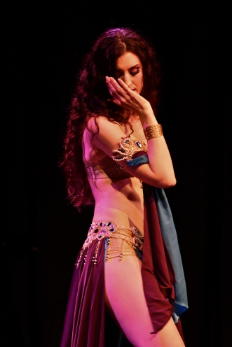Rachael dancing at the 'Arab Quarterly' bellydance show, June 2019. Photo by Maani.